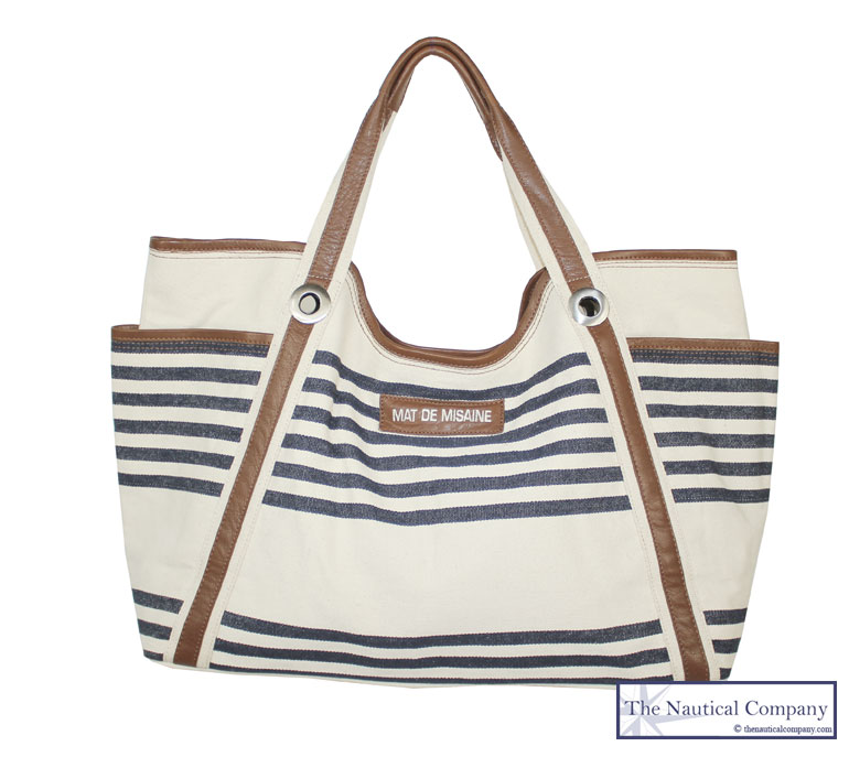 Large Beach Bag, Nautical Striped, Cream/Navy Blue Canvas, Leather ...