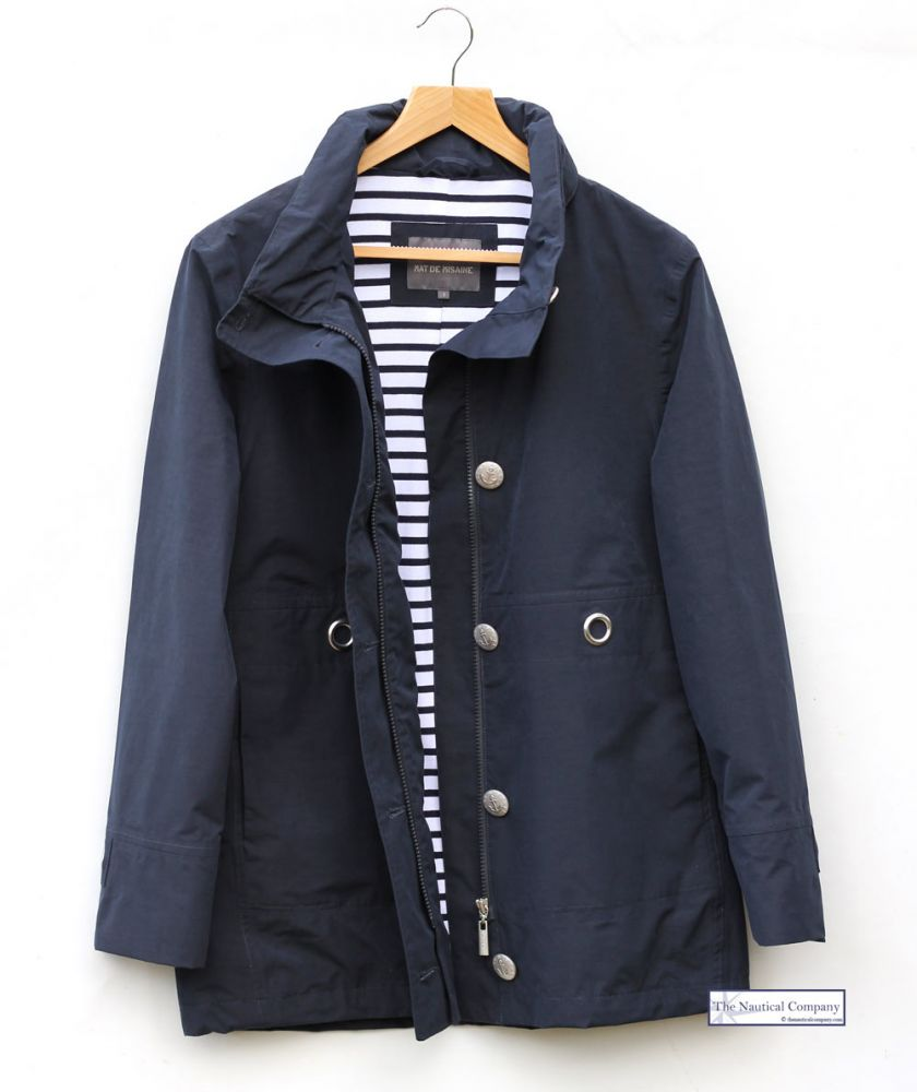 Women S Nautical Navy Blue Lined Waterproof Jacket Mat De