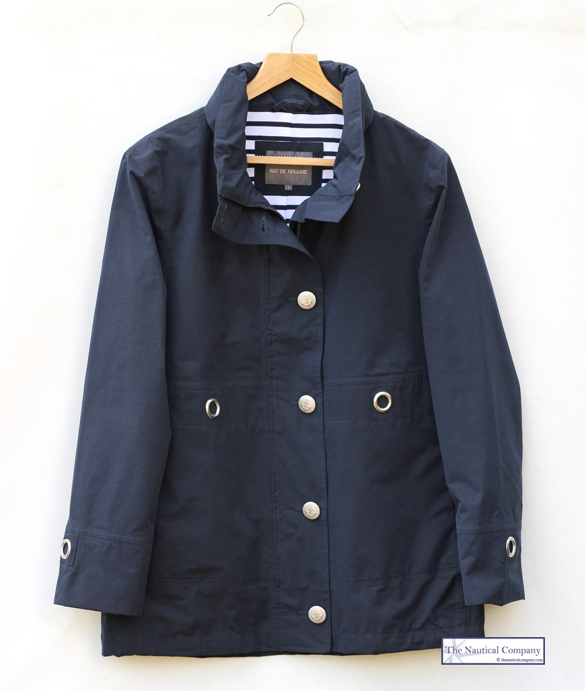 Women's Nautical Navy Blue Lined Waterproof Jacket Mat de Misaine ...