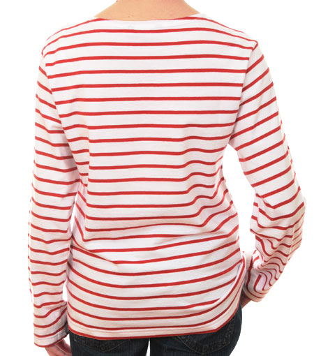6a214fe32 Women's Red & White Striped Breton Top Long Sleeve tee-shirt - THE ...