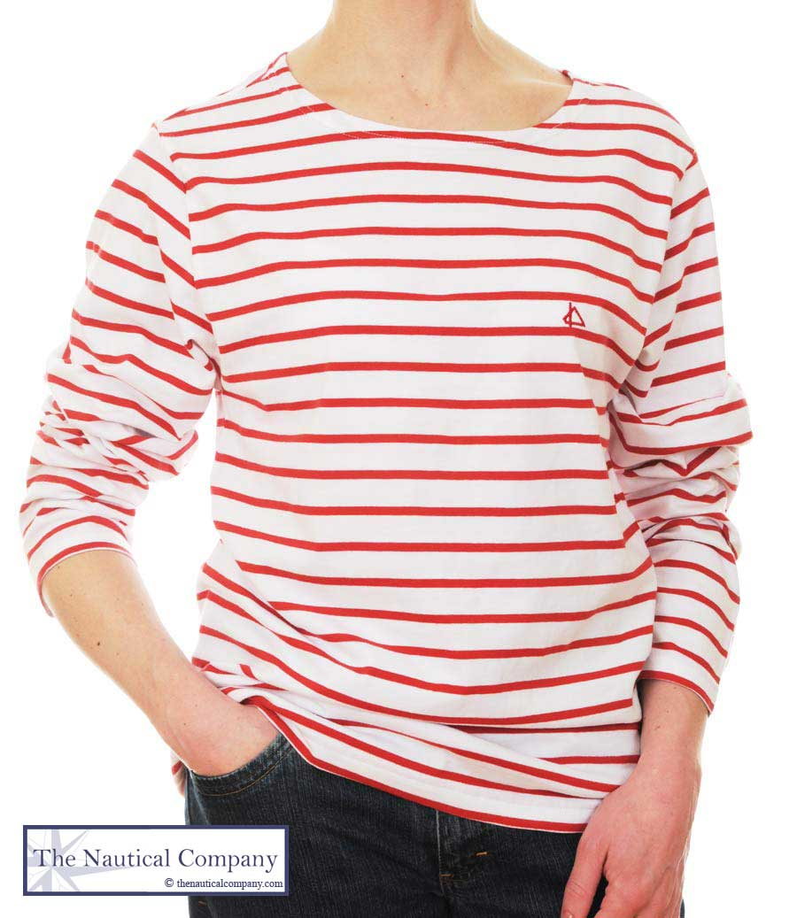 9a9d8eaf16f Women's Red & White Striped Breton Top Long Sleeve tee-shirt - THE ...