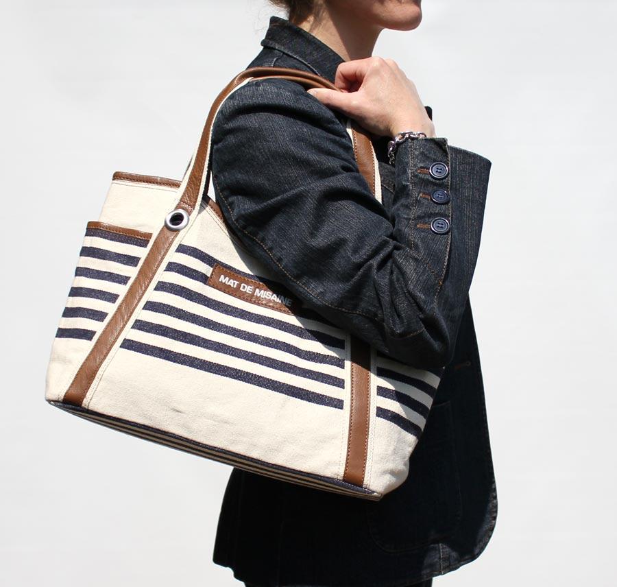 Nautical Striped Shoulder Handbag, Cotton Canvas Leather, Cream ...