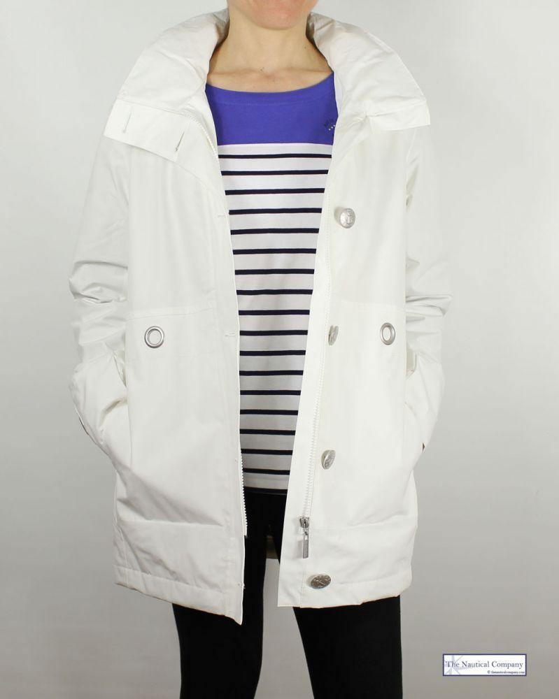Women S Nautical Lined Hooded Waterproof Jacket Off White