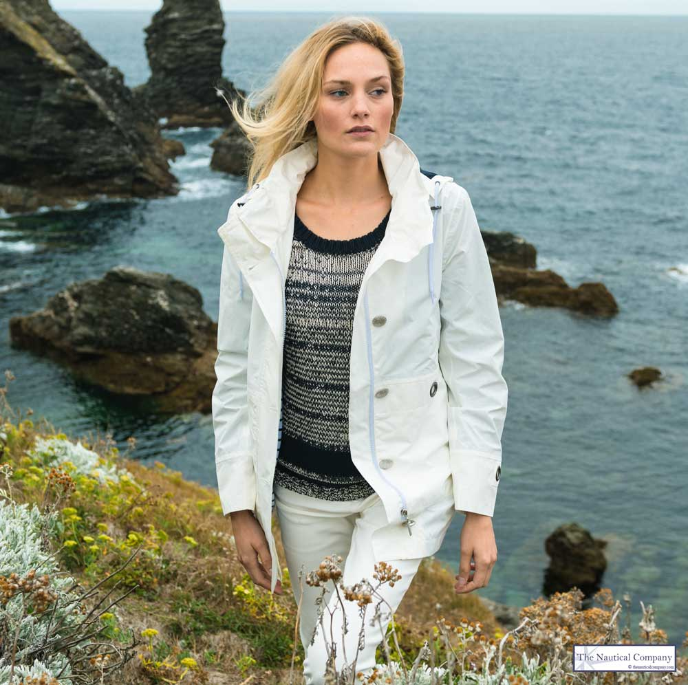 Women's Nautical Lined Hooded Waterproof Jacket Off White by Mat ...
