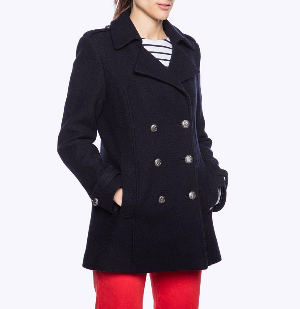 Women's Pea Coat for Ladies, Navy Wool Double Breasted Reefer ...