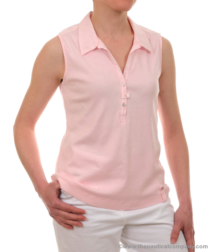 Women's Sleeveless polo shirt Light Pink, Ladies' Sleeveless polo ...