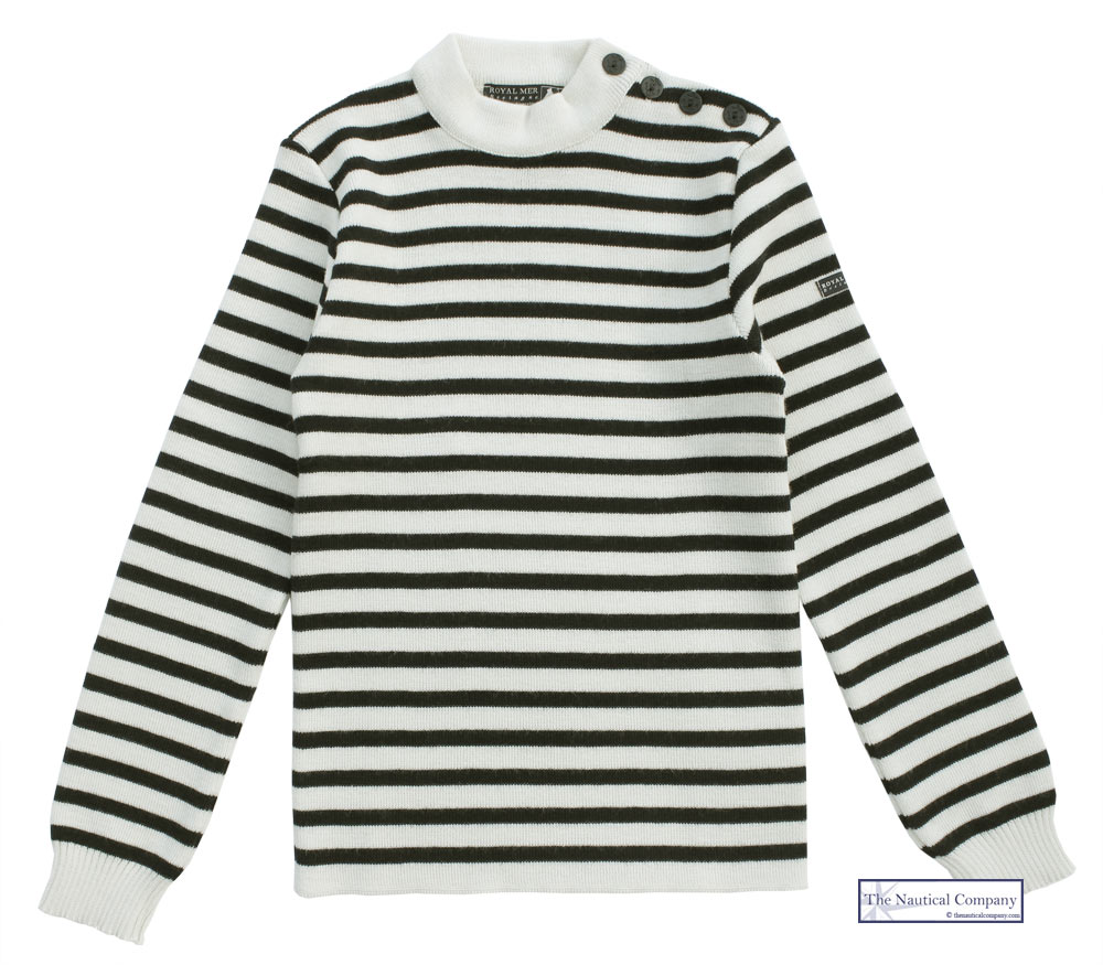 de770e005 Men s Wool Cream Navy Blue Striped Breton Sweater Royal Mer Bretagne ...