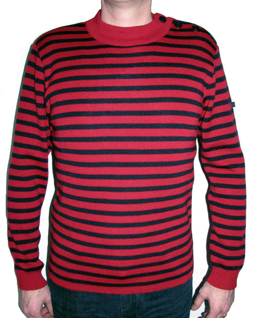 Men 39 s deep dark red navy blue striped breton sweater from for Red and blue t shirt