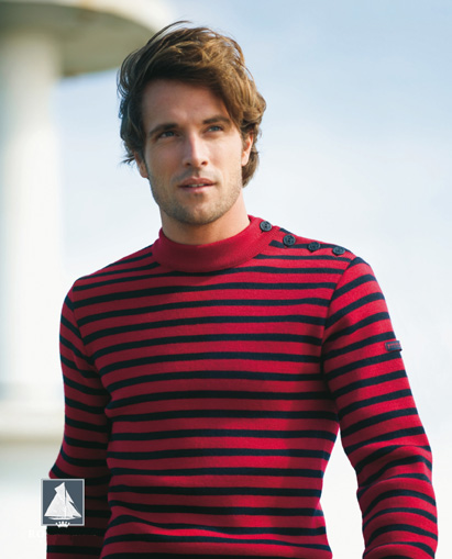 Men's Deep Dark Red/Navy Blue Striped Breton Sweater from Royal ...