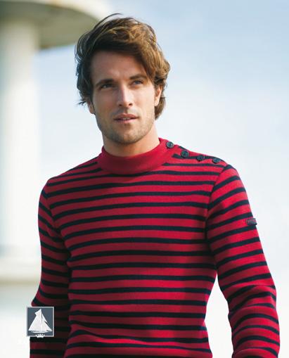 Men's Deep Dark Red/Navy Blue Striped Breton Sweater from Royal ...