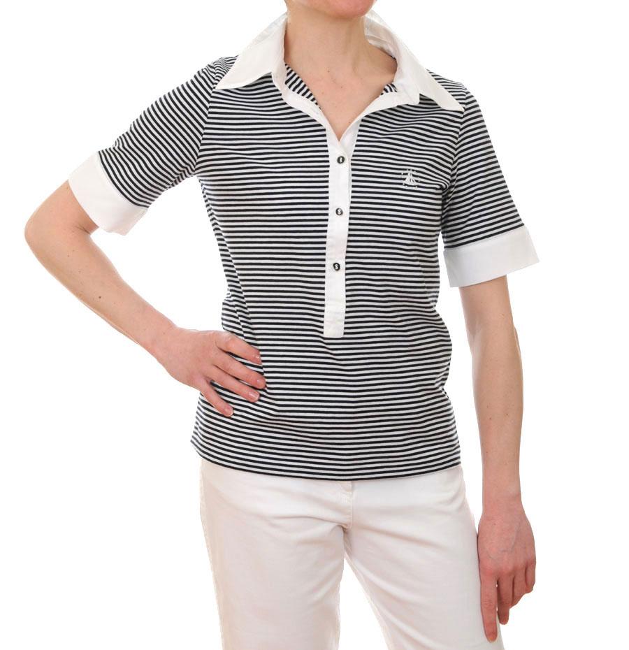 df780f085f69ca Women's Short Sleeved Striped Breton Polo Shirt (Navy Blue/White ...
