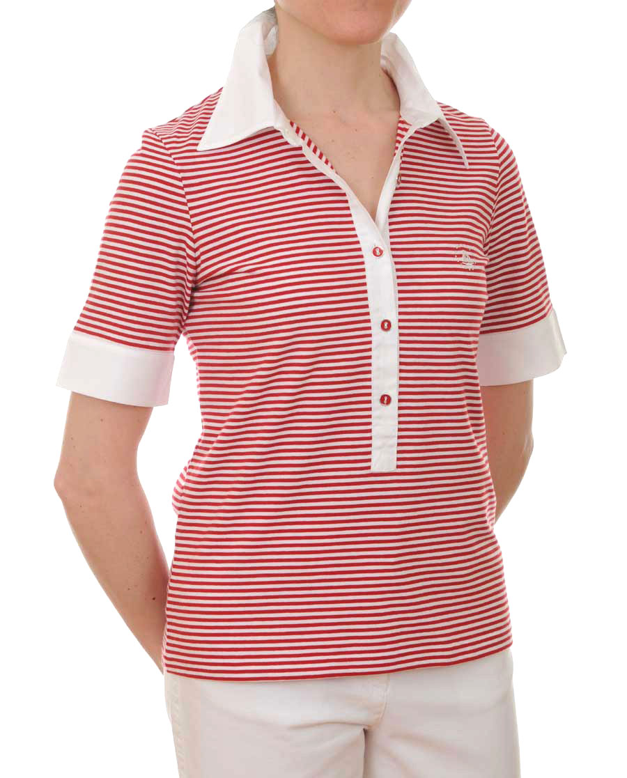Women s Short Sleeved Polo Shirt (red white). Tap to expand aa80dc32db