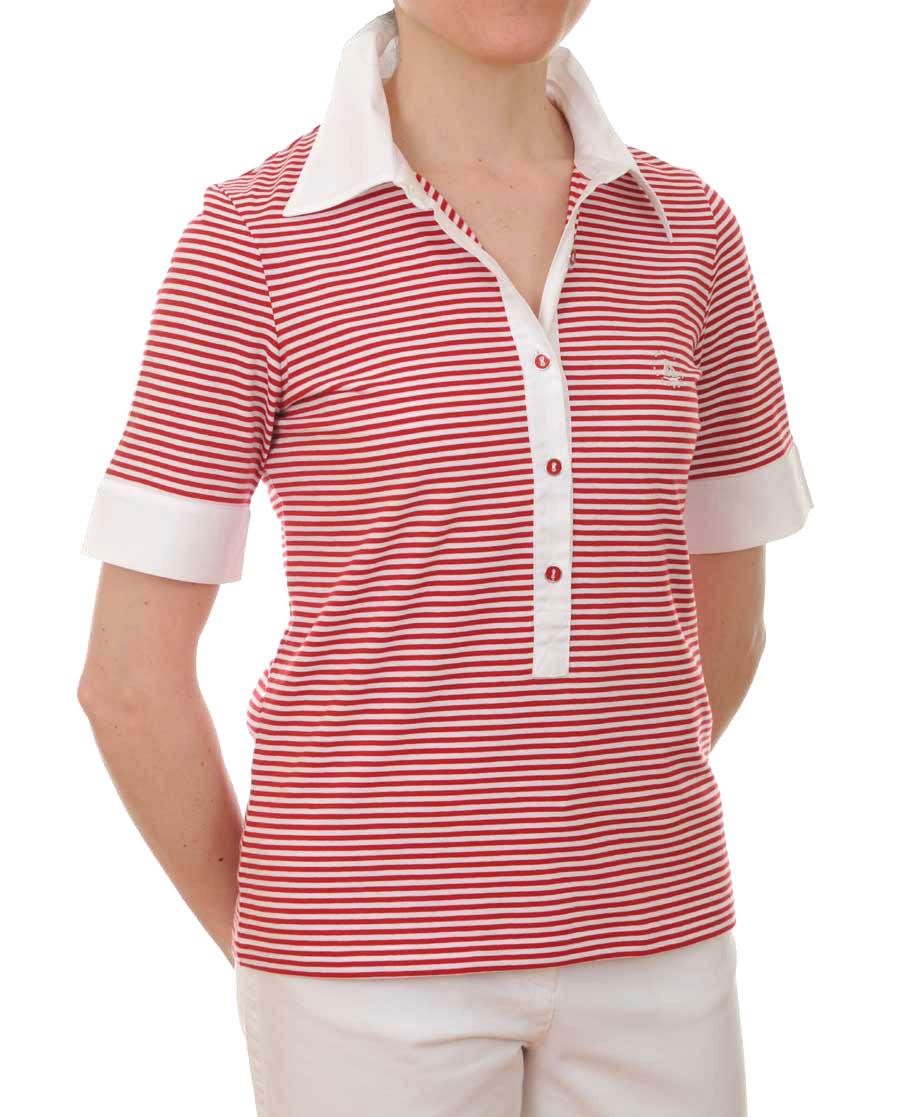 Ladies 39 short sleeved polo shirt red white women 39 s for Short sleeve shirt for women