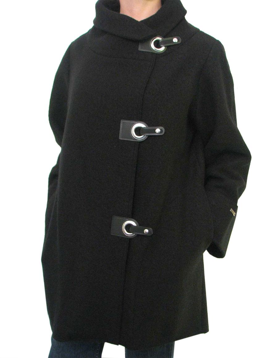 Ladies Asymmetrical Black Boiled Wool Coat For Women