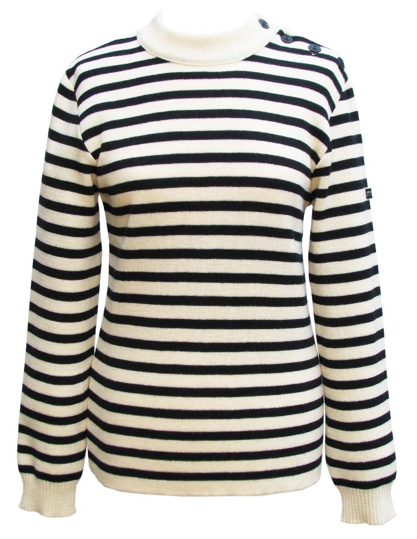 Men's Wool Cream/Navy Blue Striped Breton Sweater Royal Mer ...