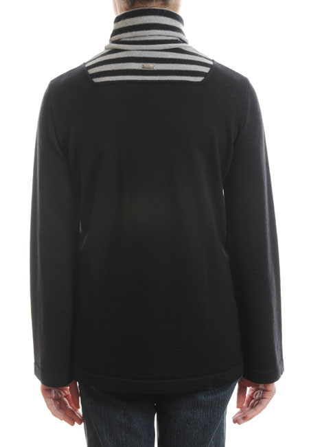Ladies Black Grey Polo Roll Neck Sweater Women Merino