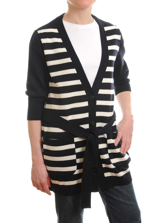 Women's Striped Long Cardigan  Ladies' Black/Navy Blue/Cream ...