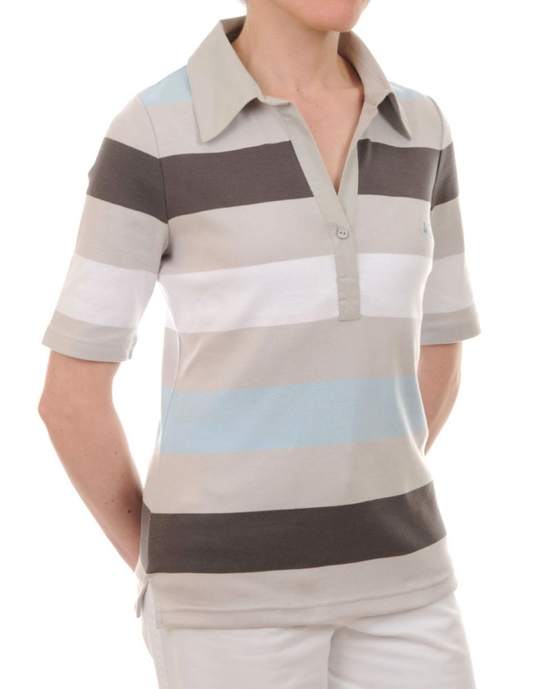 Women 39 s striped polo tee shirt ladies 39 short sleeved top for Best striped t shirt