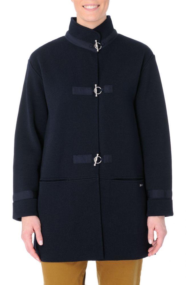Art Décor: Women's Long Navy Blue Knit Jacket