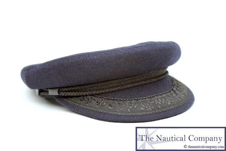 Art Décor: Traditional Breton Hat, Sailor Captain Hat Navy Blue Wool