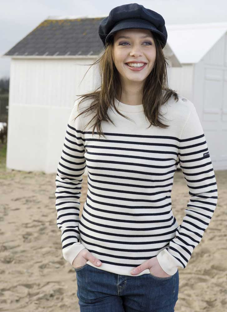 Womens Wool Striped Breton Jumper Navy Bluecream Fine Knit Ladies