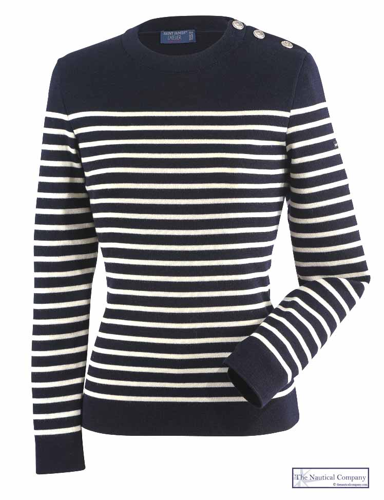 Women's Wool Striped Breton Jumper, Navy Blue/Cream Fine Knit ...