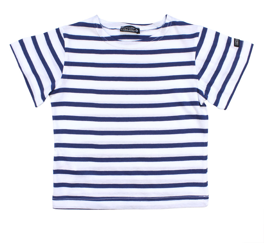 Art Décor: Boy's Striped Top With Short Sleeves, White/Navy Blue
