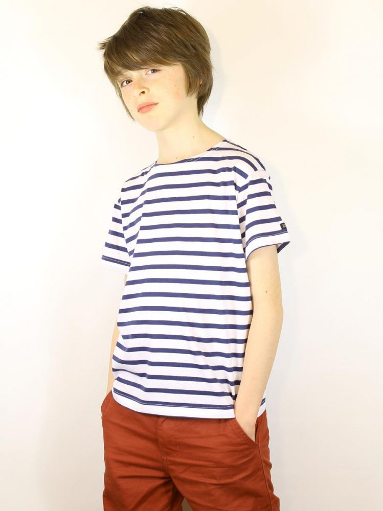 Boy 39 s striped top with short sleeves white navy blue for St james striped shirt