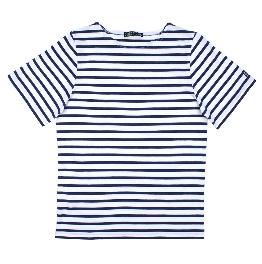 Breton Tee Shirt, Short Sleeves, White/Navy Blue Stripe - THE ...
