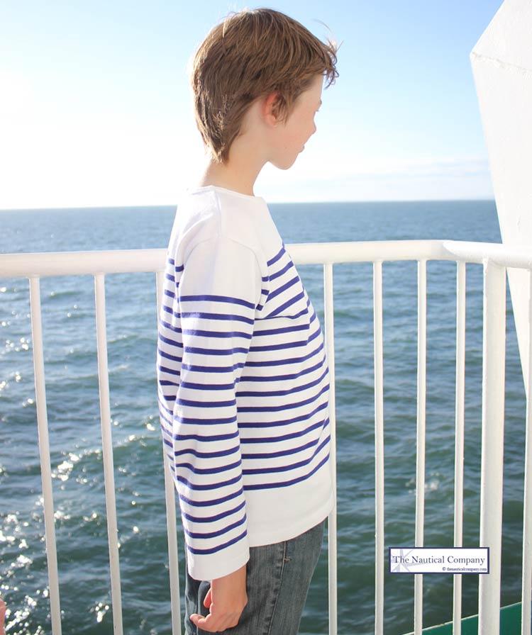 Art Décor: Children's Sailor Top White/Royal Blue