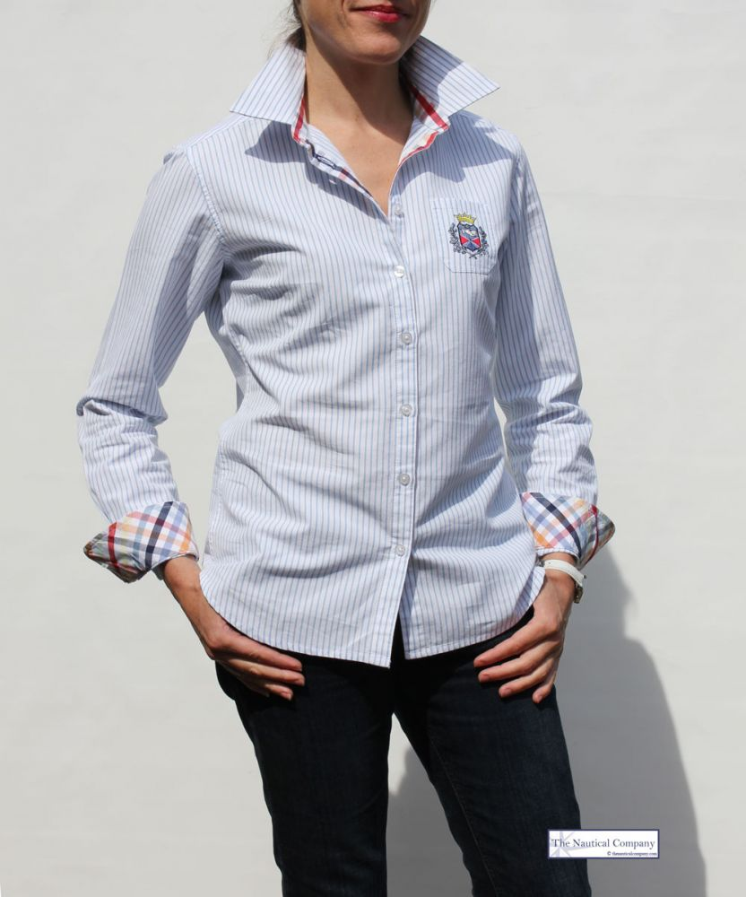 Ladies' Striped Shirt, White & Blue Cotton Stripe