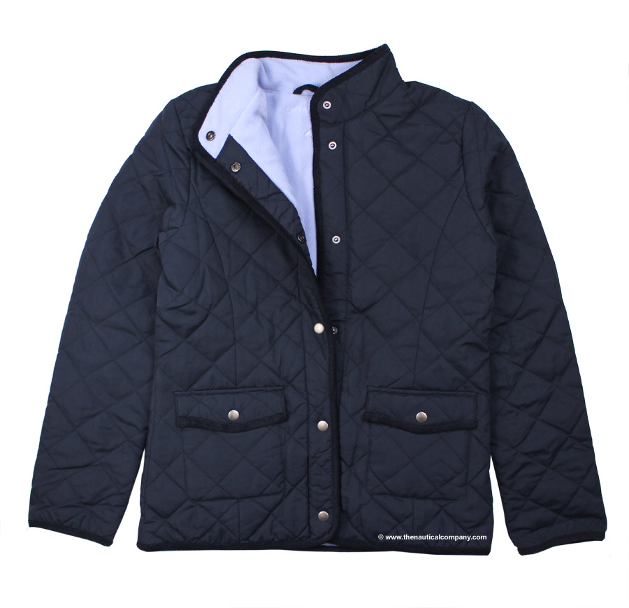 Women's Navy Blue Fleece Lined Quilted Jacketfor ladies - THE ...