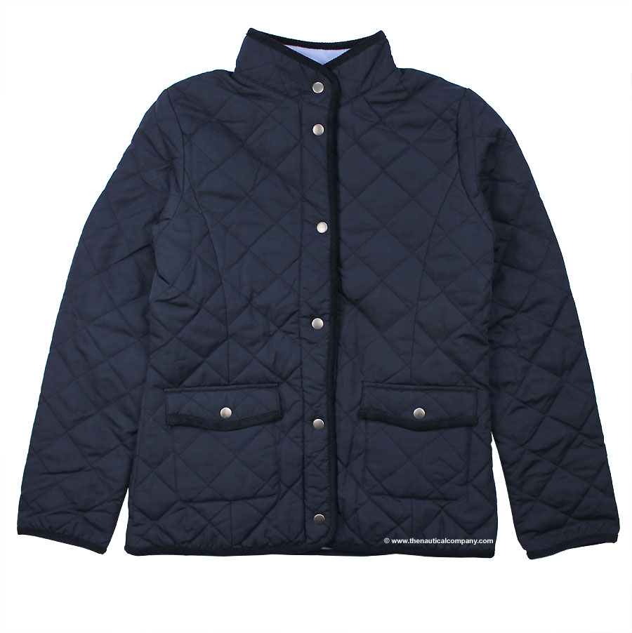 Women S Navy Blue Fleece Lined Quilted Jacketfor Ladies