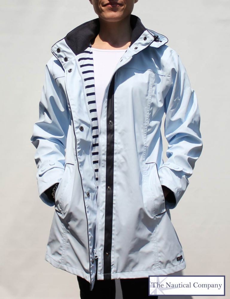 Women's Lined Raincoat with Hood Light Blue, Stylish Waterproof ...