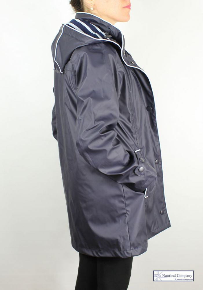 Women S Navy Blue Raincoat Fully Lined Hooded The