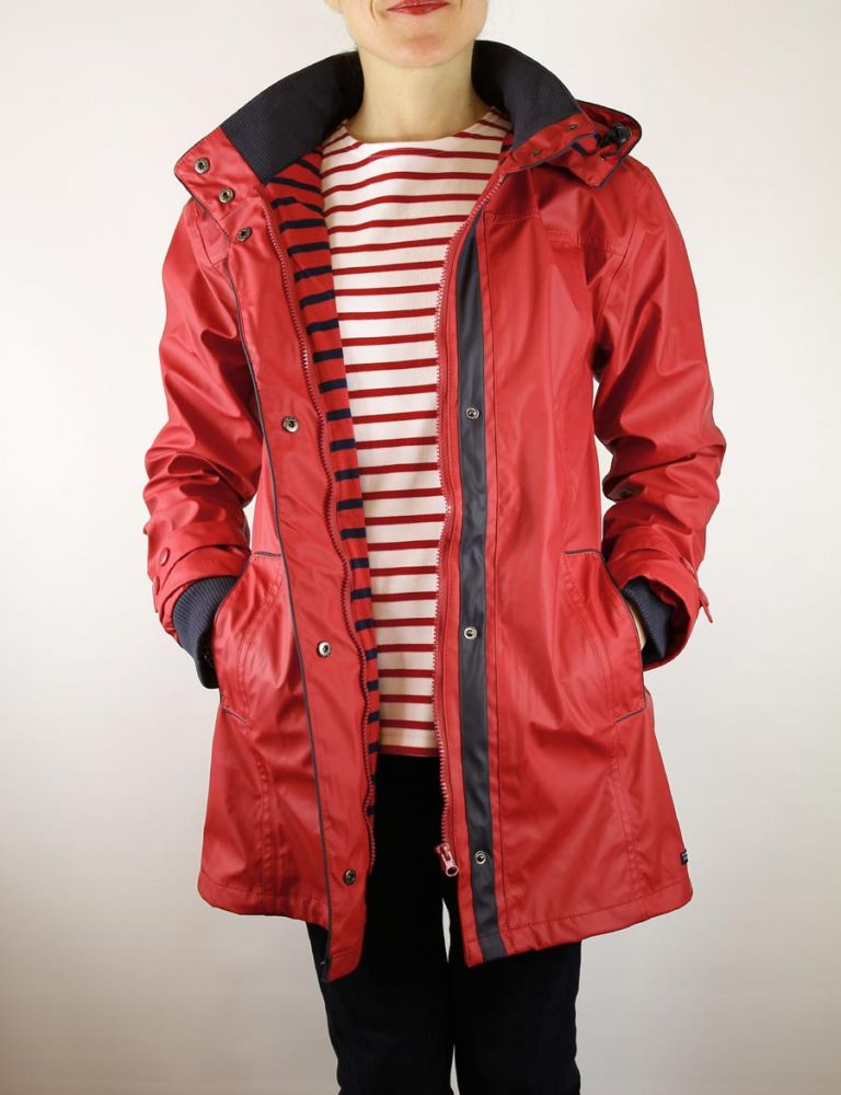 Women's Raincoat Red, PVC Waterproof Jacket for Ladies - THE ...