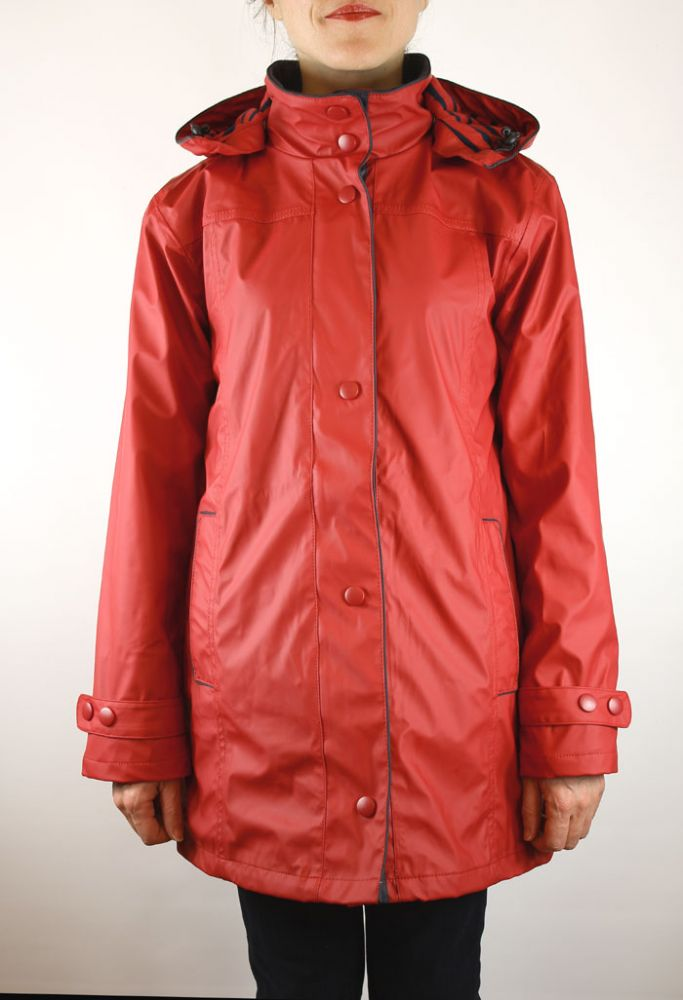 Women S Raincoat Red Pu Waterproof Jacket For Ladies