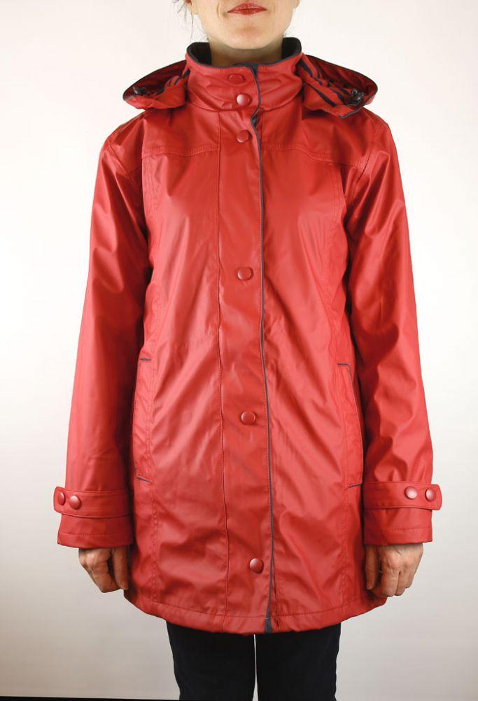 Women S Raincoat Red Pu Waterproof Jacket For Ladies