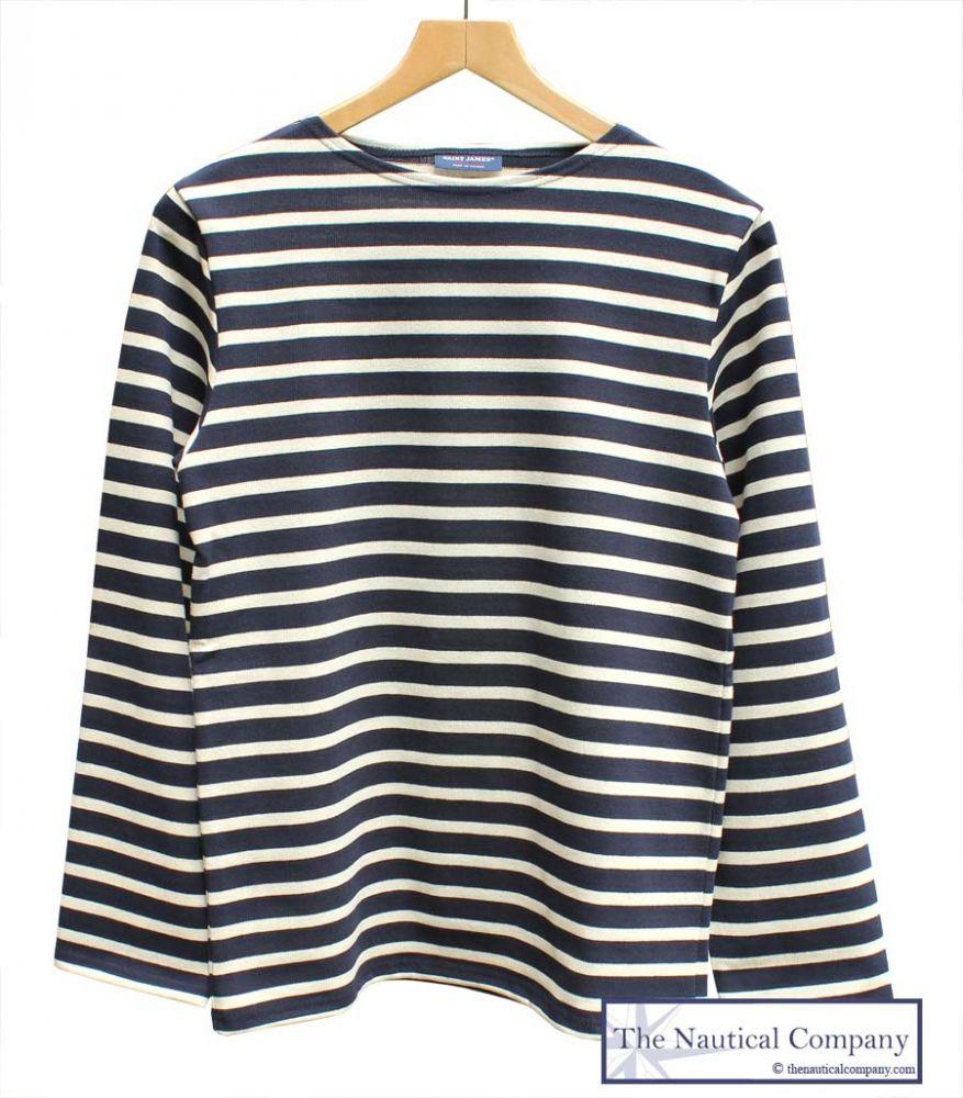 Saint james meridien breton shirt top navy blue cream for St james striped shirt