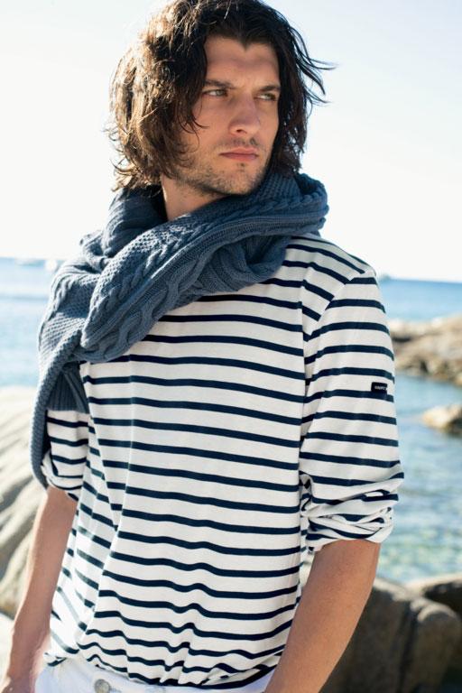 Cream navy blue breton shirt striped for men saint james for Striped french sailor shirt