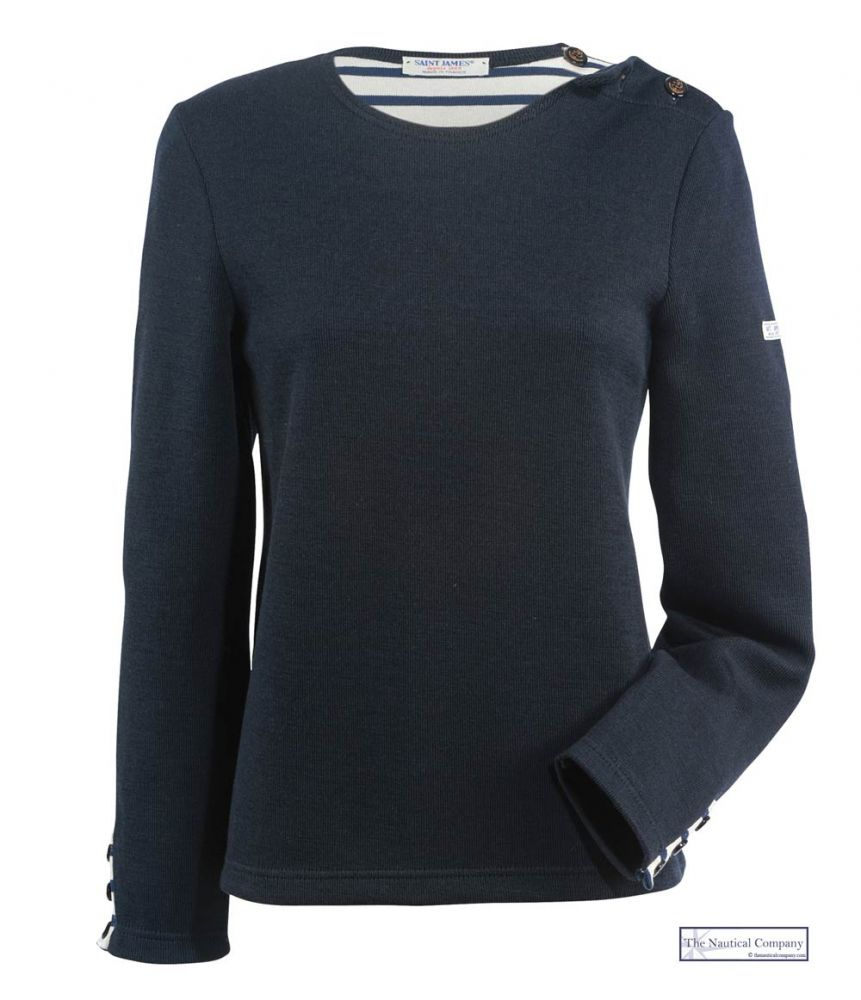 Women Navy Nautical Sweater, Boat Neck, Shoulder Opening, Wool ...