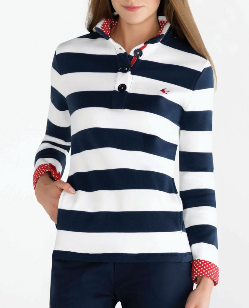 Women's Striped Sweatshirt, Off White/Navy Blue Strawberry Bay ...