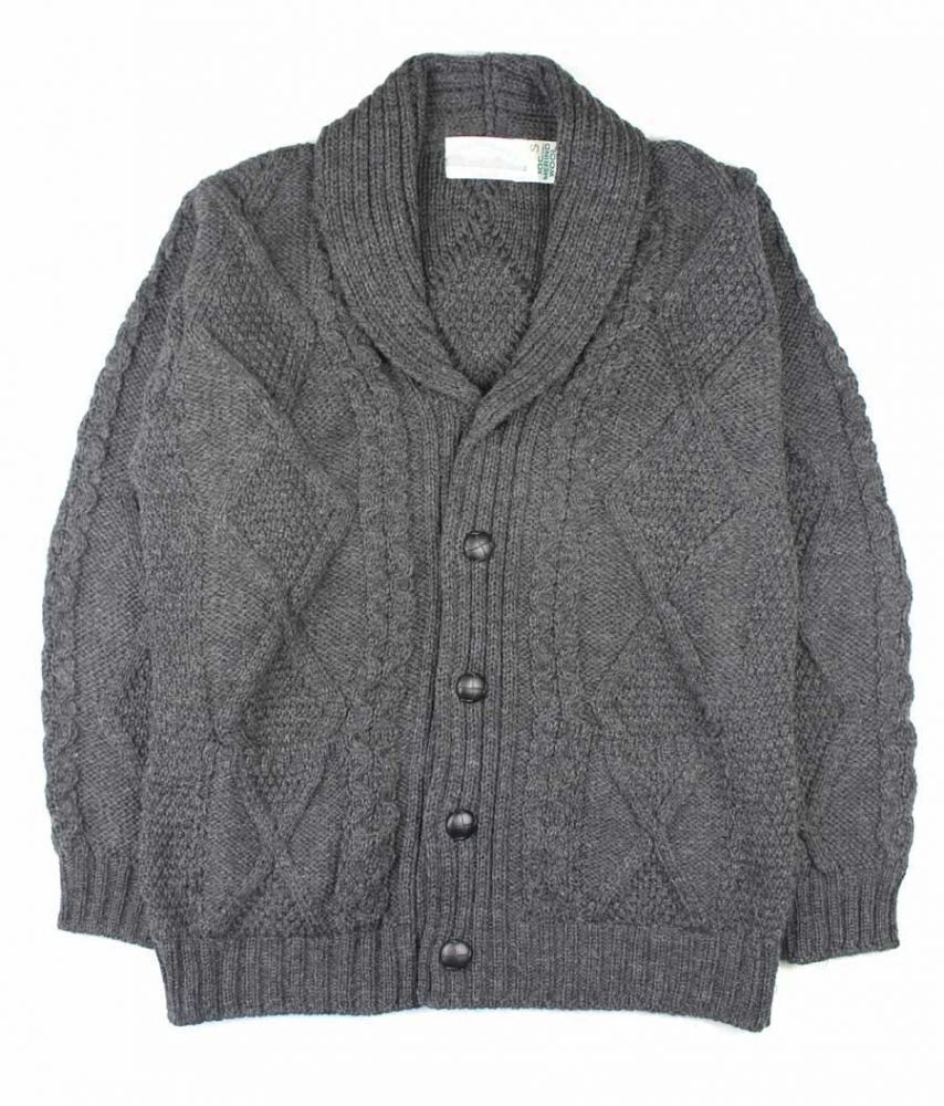 Men's Chunky Aran Cardigan, Grey Shawl Collar, Merino Wool, Aran ...