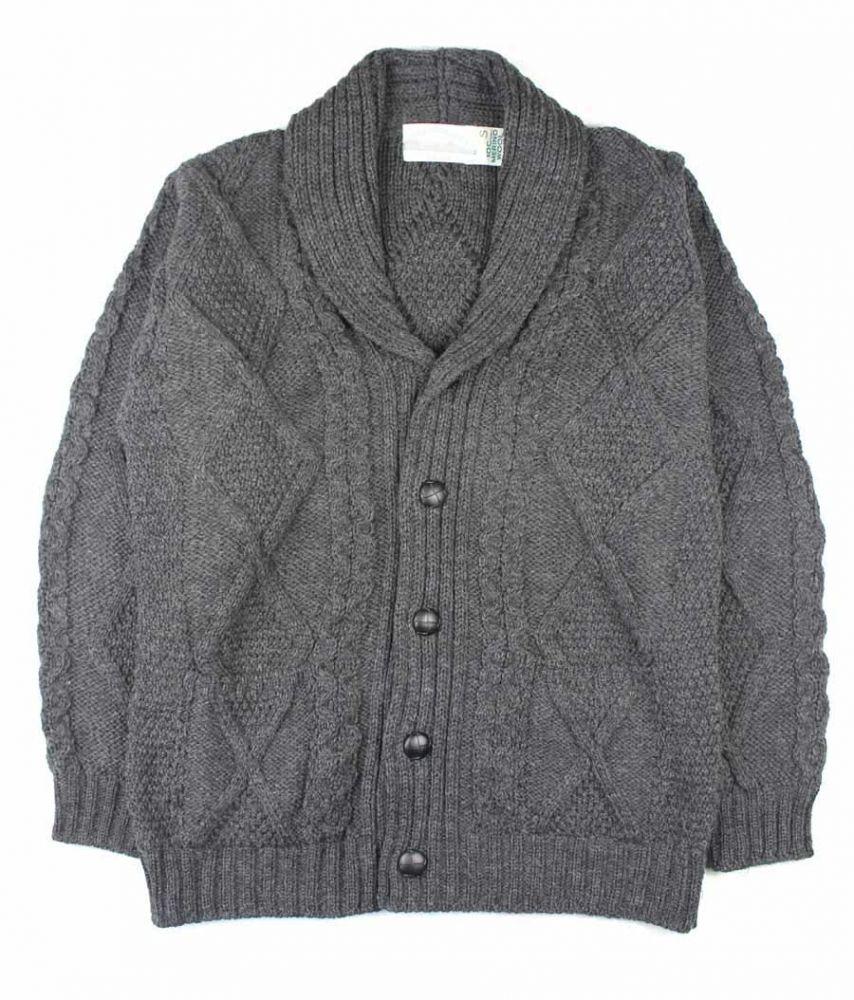 Men S Chunky Aran Cardigan Grey Shawl Collar Merino Wool
