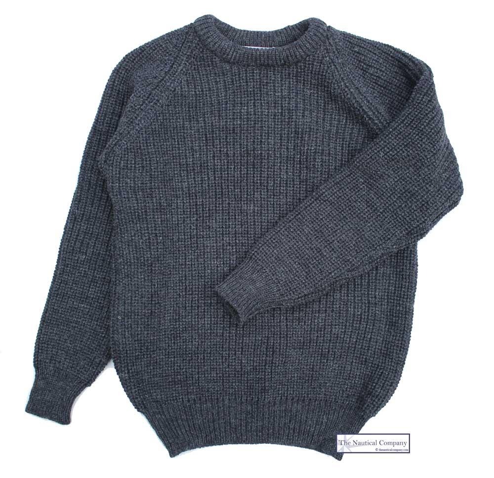 Fisherman S Rib Sweater For Men Charcoal Grey Pure Wool