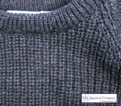 Fishermans Rib Sweater For Men Charcoal Grey Pure Wool The