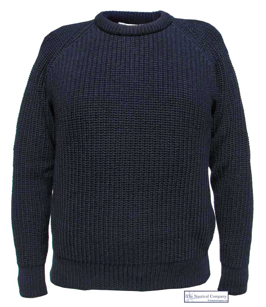 Men S Fishermans Jumper Navy Blue The Nautical Company Uk