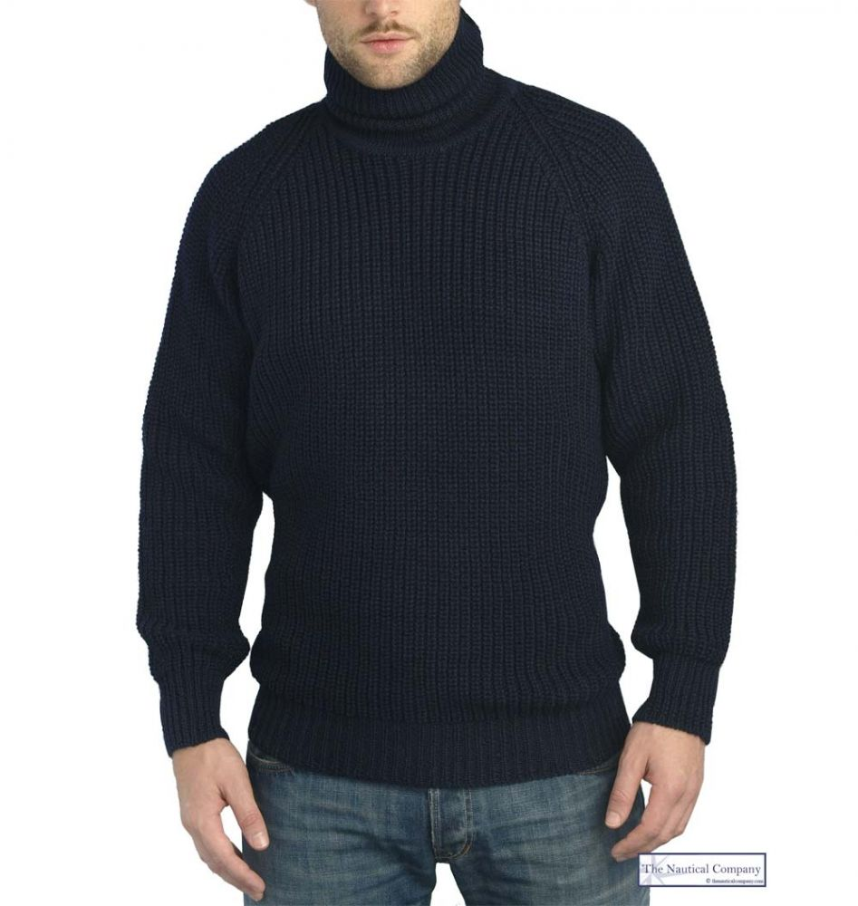 Submariner Sweater, Polo Neck, Navy Blue, Chunky Wool - THE ...