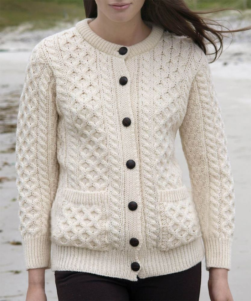 Women's Irish Aran Cardigan for ladies - Natural Wool, Pockets, UK ...
