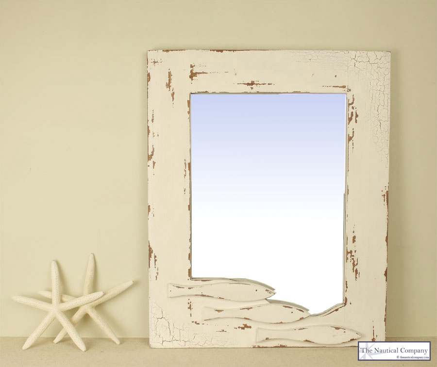 Art Décor: Large Coastal Mirror With Fishes, Cream, Shabby Chic